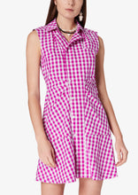 Load image into Gallery viewer, Fuchsia and White Gingham Satina Sleeveless Shirt Dress - Womens Dress by Derek Lam