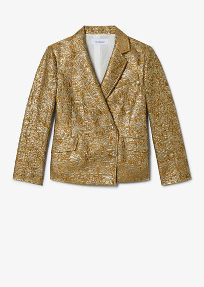Gold Myla Double Breasted Crop Blazer - Womens Jacket by Derek Lam
