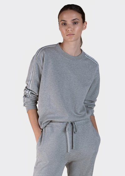 Grey Melange Aila Sweatshirt With Track Stripe - Women's Top by Derek Lam