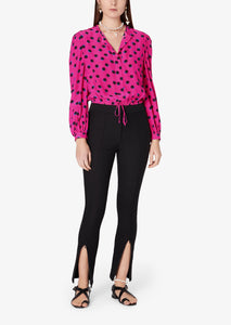 Hot Pink Olina Cropped Blouse - Womens Top by Derek Lam