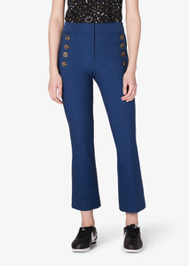Indigo Adeline Cropped Flare With Buttons - Womens Pants by Derek Lam