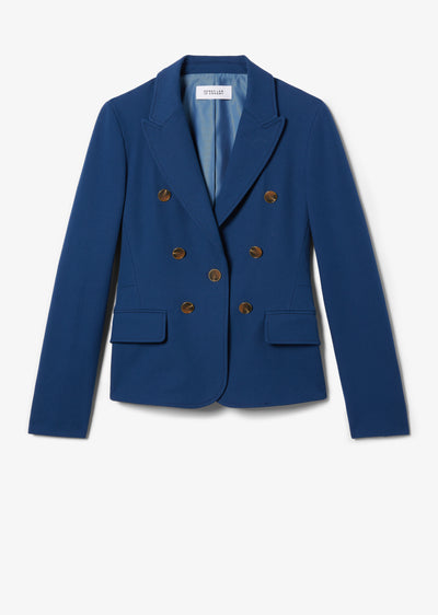 Indigo Eliza Double Breasted Blazer - Womens Jacket by Derek Lam