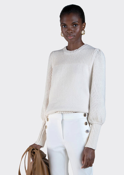 Ivory Ella Puff Sleeve Sweater - Women's Sweater by Derek Lam