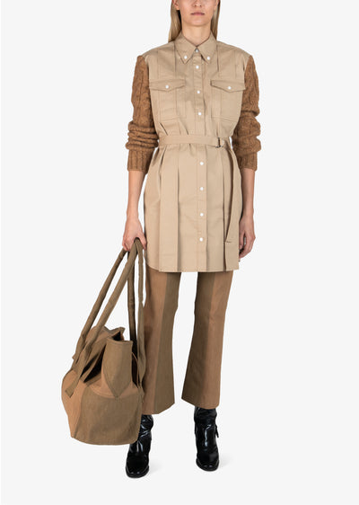 Khaki Vivian Mixed Media Shirt Dress - Womens Dress by Derek Lam