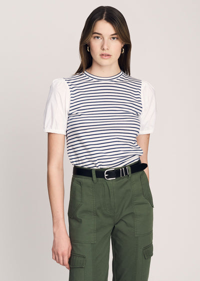 Navy-White Eva Puff Sleeve T-Shirt - Womens Tee by Derek Lam