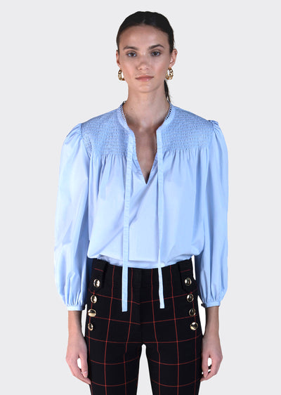 Pale Blue Austin Long Sleeve Smocked Blouse With Ties- Women's Top by Derek Lam
