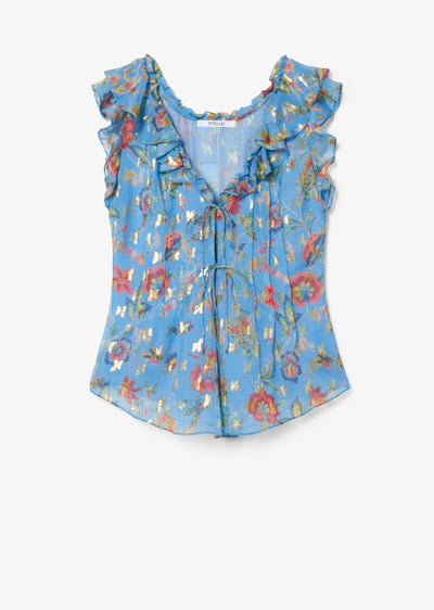 Pale Blue Emilie Top With Ties - Womens Top by Derek Lam