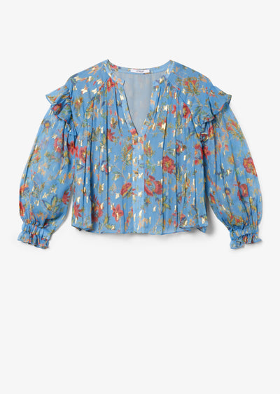 Pale Blue Lilou Ruffle Blouse With Smocked Cuff - Womens Top by Derek Lam