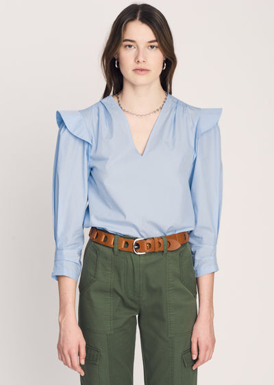 Pale-Blue Oona V Neck Ruffle Blouse - Womens Top by Derek Lam