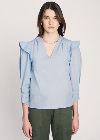 Pale Blue Oona V Neck Ruffle Blouse - Women's Top by Derek Lam