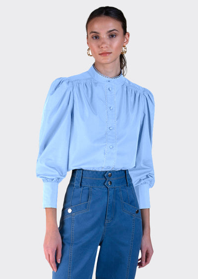 Pale Blue Zoe Long Sleeve Button Down Shirt - Women's Top by Derek Lam