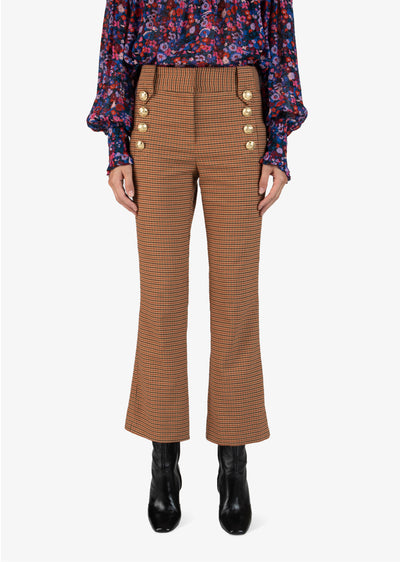 Rust Corinna Cropped Flare Trouser With Sailor Buttons - Women's Trouser by Derek Lam