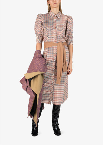 Rust Multi Luis Plaid Long Sleeve Dress - Womens Dress by Derek Lam