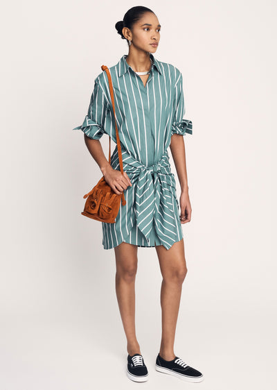 Sagebrush Green Charlotte Tie Waist Shirt Dress - Womens Dress by Derek Lam