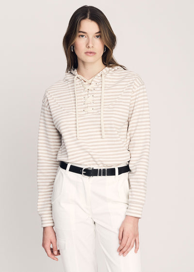 Sesame-Ivory Georgie Tie Hooded Sweatshirt - Women's Top by Derek Lam