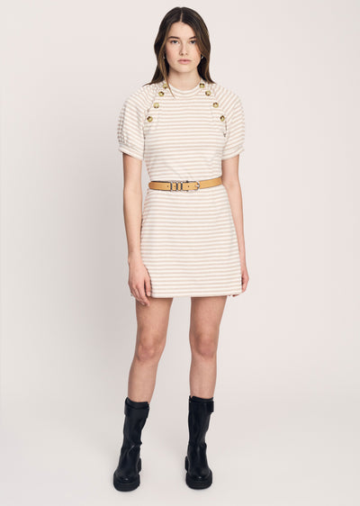 Sesame-Ivory Karli Short Sleeve Dress with Sailor Buttons | Women's Dress by Derek Lam