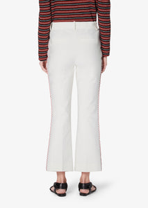 Soft White Crosby Crop Flare Trouser With Embroidery - Womens Pants by Derek Lam