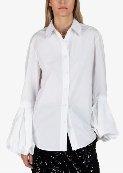 Soft White Vernon Long Sleeve Button Down Blouse With Bell Puff Sleeve - Women's Top by Derek Lam