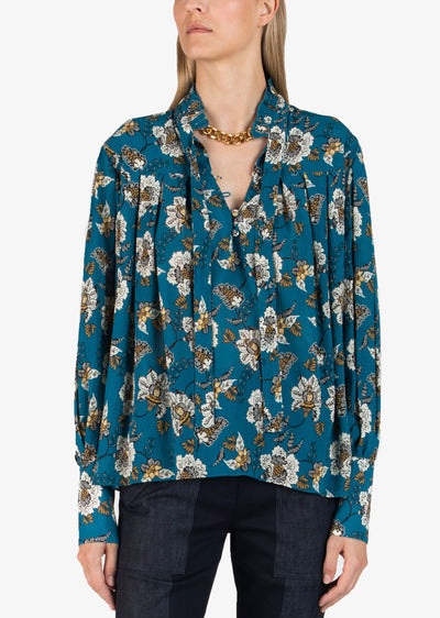 Teal Thomsen Long Sleeve Blouse With Tie Neck - Women's Top by Derek Lam