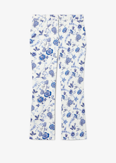 White and Blue Meloe Cropped Flare Trouser - Womens Pant by Derek Lam