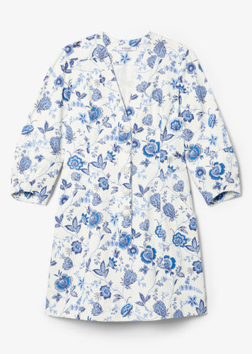 White and Blue Ottilie Long Sleeve Dress - Womens Dress by Derek Lam
