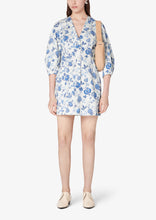 Load image into Gallery viewer, White and Blue Ottilie Long Sleeve Dress - Womens Dress by Derek Lam