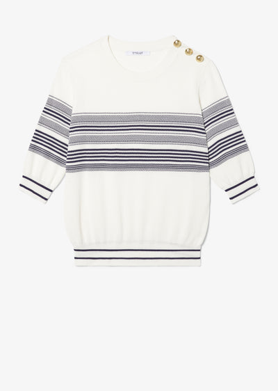 White and Midnight Daina Short Sleeve Sweater With Sailor Buttons - Womens Sweater by Derek Lam