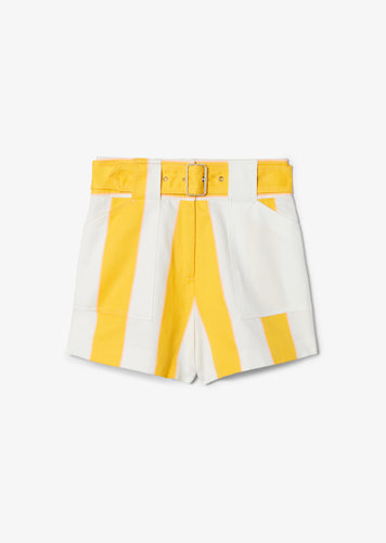 Yellow Monterey Belted Patchwork Short - Womens Shorts by Derek Lam