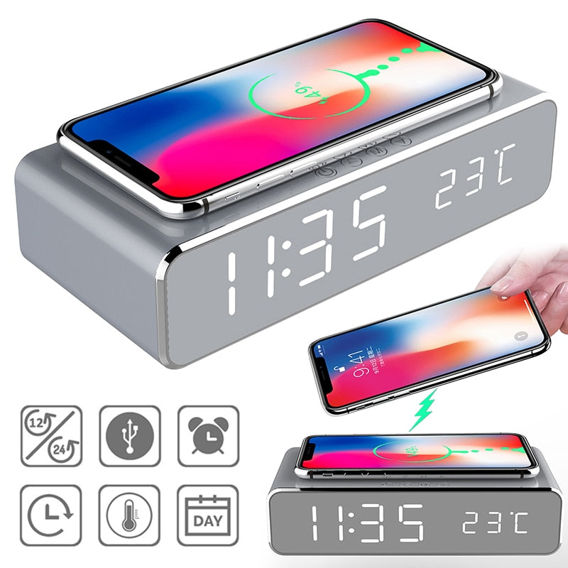 Wireless Charger LED Alarm Clock
