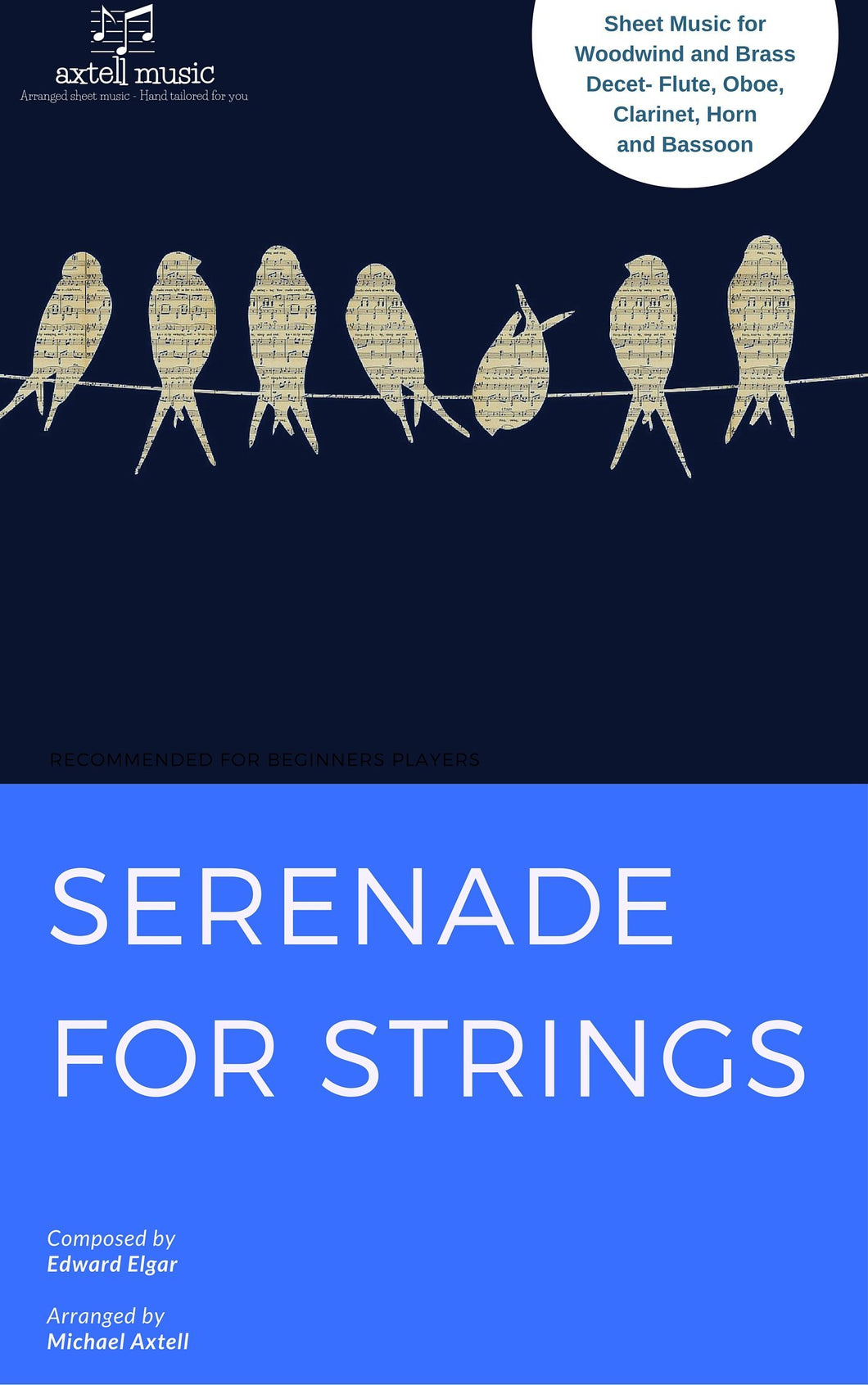Cover art for Serenade for Strings, Movement 1 - Edvard Elgar: Woodwind Sheet Music | Axtell Music Flute, Oboe, Clarinet, Horn, Bassoon