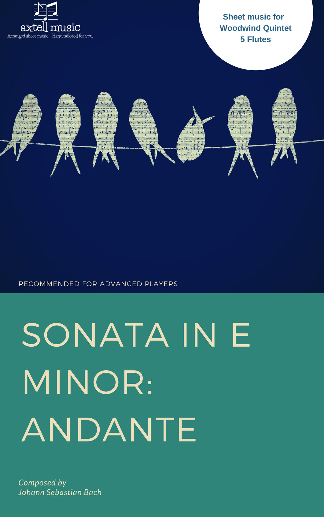 Cover art work for Sonata in E Minor Andante composed by Johann Sebastian Bach. Sheet Music arranged for Woodwind Ensembles, 3 Flutes and 2 Clarinets. Full score and Instrumental parts included to download and print.