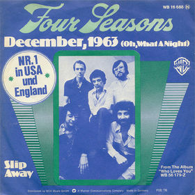 This is the cover art for the single December, 1963 (Oh, What a Night) by the artist The Four Seasons. The cover art copyright is believed to belong to the label, Warner / Curb, or the graphic artist(s). December 1963 - The Four Seasons: Sheet Music | Axtell Music