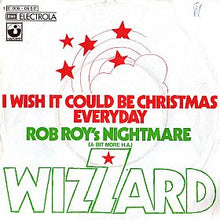 Load image into Gallery viewer, This is the cover art for the single I Wish It Could Be Christmas Everyday by the artist Wizzard. The cover art copyright is believed to belong to the label, Harvest Records & Warner Bros. Records, or the graphic artist(s).  Download and print I Wish It Could Be Christmas Every Day by Wizzard. Sheet Music for Piano/Voice/Guitar.