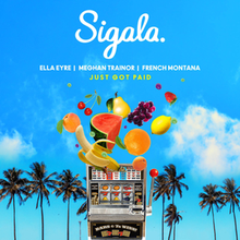 Load image into Gallery viewer,  This is the cover art for Just Got Paid by Meghan Trainor, Ella Eyre and French Montana, produced by Sigala.The cover art copyright is believed to belong to the label, or the graphic artist(s)