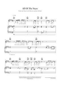 All Of The Stars: 'The Fault in Our Stars' - Ed Sheeran: Sheet Music  Edit alt text