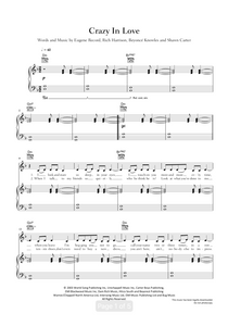 Crazy In Love - Beyoncé: Piano/Voice/Guitar Sheet Music | Axtell Music  Edit alt text