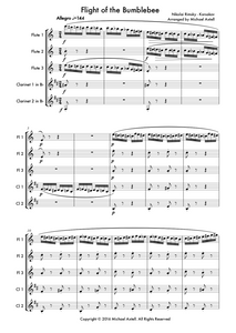 Flight Of The Bumblebee sheet music, Woodwind Ensemble. An Arrangement for 3 Flutes And 2 Clarinets.