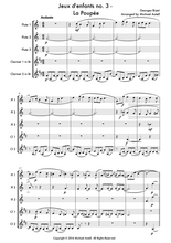 Load image into Gallery viewer, Jeux d'enfants No. 3 La Poupée Sheet Music by Georges Bizet. A beginner Woodwind arrangement for 3 Flutes and 2 Clarinets. Full score and Instrumental parts included.