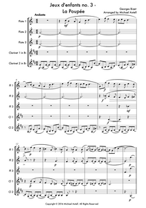 Jeux d'enfants No. 3 La Poupée Sheet Music by Georges Bizet. A beginner Woodwind arrangement for 3 Flutes and 2 Clarinets. Full score and Instrumental parts included.