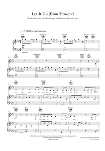 Let It Go from 'Frozen', The Original Motion Picture Soundtrack. Sheet Music for Piano/Voice/Guitar.