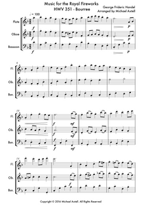 Music For The Royal Fireworks HWV 351: Bourree Woodwind Sheet Music