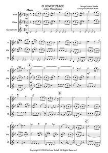 O Lovely Peace, Woodwind Trio arrangement sheet music for Flutes, Oboe and Clarinet.