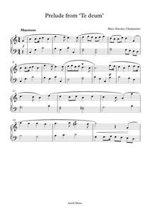 Prelude From 'Te Deum' by Marc Antoine Charpentier. Sheet Music for Easy Piano.