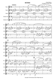 Reverie' by Claude Debussy. Woodwind sheet music Ensemble. An Arrangement for 3 Flutes And 2 Clarinets. Full Score And Instrumental Parts Included.