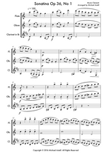 Load image into Gallery viewer, Sonatina Op.36 No. 1. An intermediate arrangement for Woodwind Flute, Clarinet and Oboe Trio. Full score and Instrumental parts included.