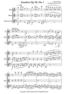 Sonatina Op.36 No. 1. An intermediate arrangement for Woodwind Flute, Clarinet and Oboe Trio. Full score and Instrumental parts included.