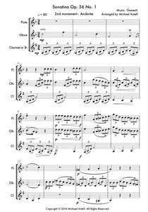Sonatina Op. 36 No. 1 2nd. An intermediate arrangement for Woodwind Flute, Clarinet and Oboe Trio. Full score and Instrumental parts included.