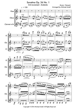 Load image into Gallery viewer, Sonatina Op. 36 No. 1 3rd movement: An intermediate arrangement for WoodwindmFlute, Clarinet and Oboe Trio. Full score and Instrumental parts included.