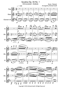 Sonatina Op. 36 No. 1 3rd movement: An intermediate arrangement for WoodwindmFlute, Clarinet and Oboe Trio. Full score and Instrumental parts included.