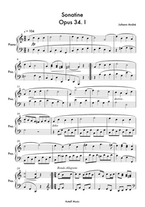 Sonatine Opus 34. No.1 - Johann Andre:  Piano Sheet Music